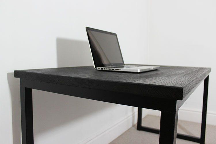 black office industrial desk