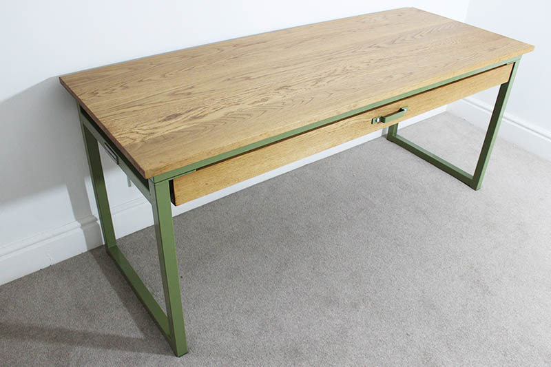 metal industrial desk with drawer