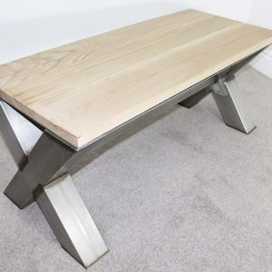 x frame vintage coffee table