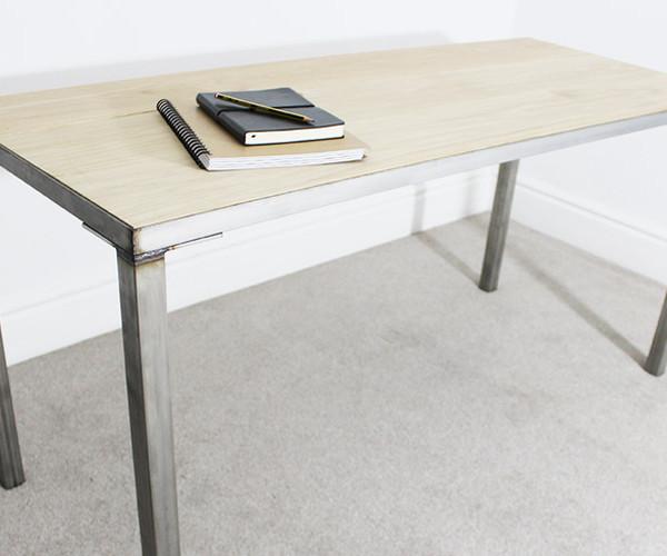 astaire oak and steel desk