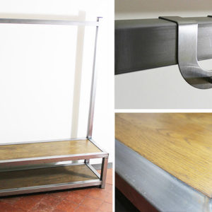 vintage industrial hallway bench