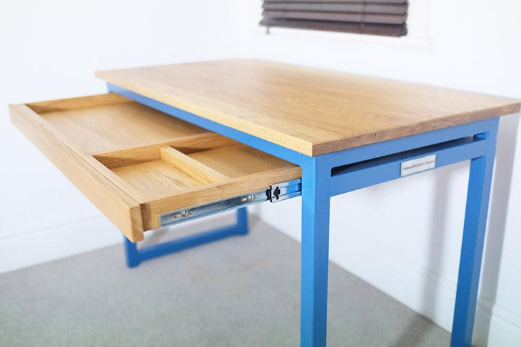 blue industrial desk