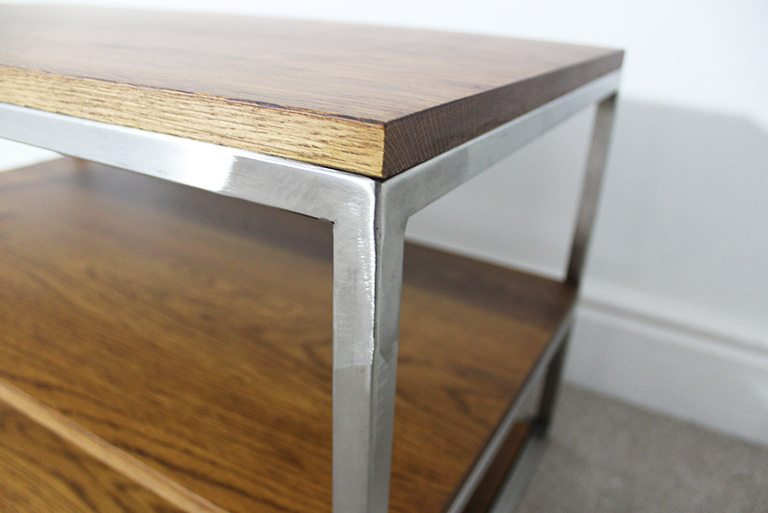 dark oak vintage industrial tv table