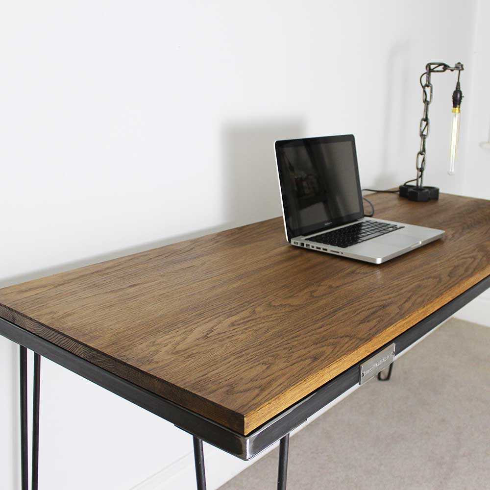 Vintage Industrial Style Oak Desk Table with Hairpin Legs UK