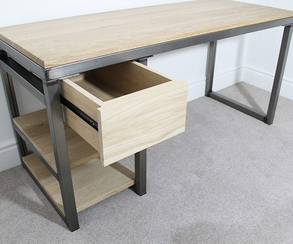 industrial desk with drawer