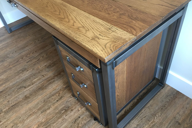 Industrial Desk With Drawers Russell Oak Amp Steel Ltd