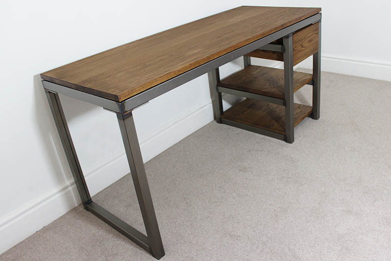 Vintage Industrial Desks Bespoke Style Office UK Russell Oak Steel