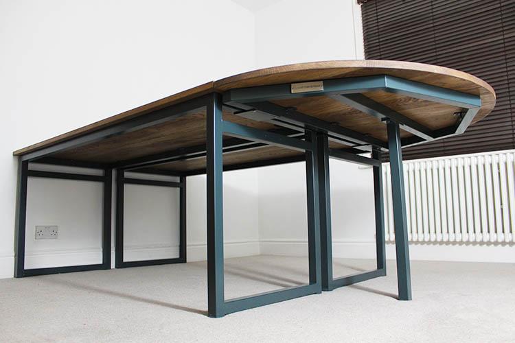 Vintage Blue Industrial Desk Russell Oak And Steel Ltd