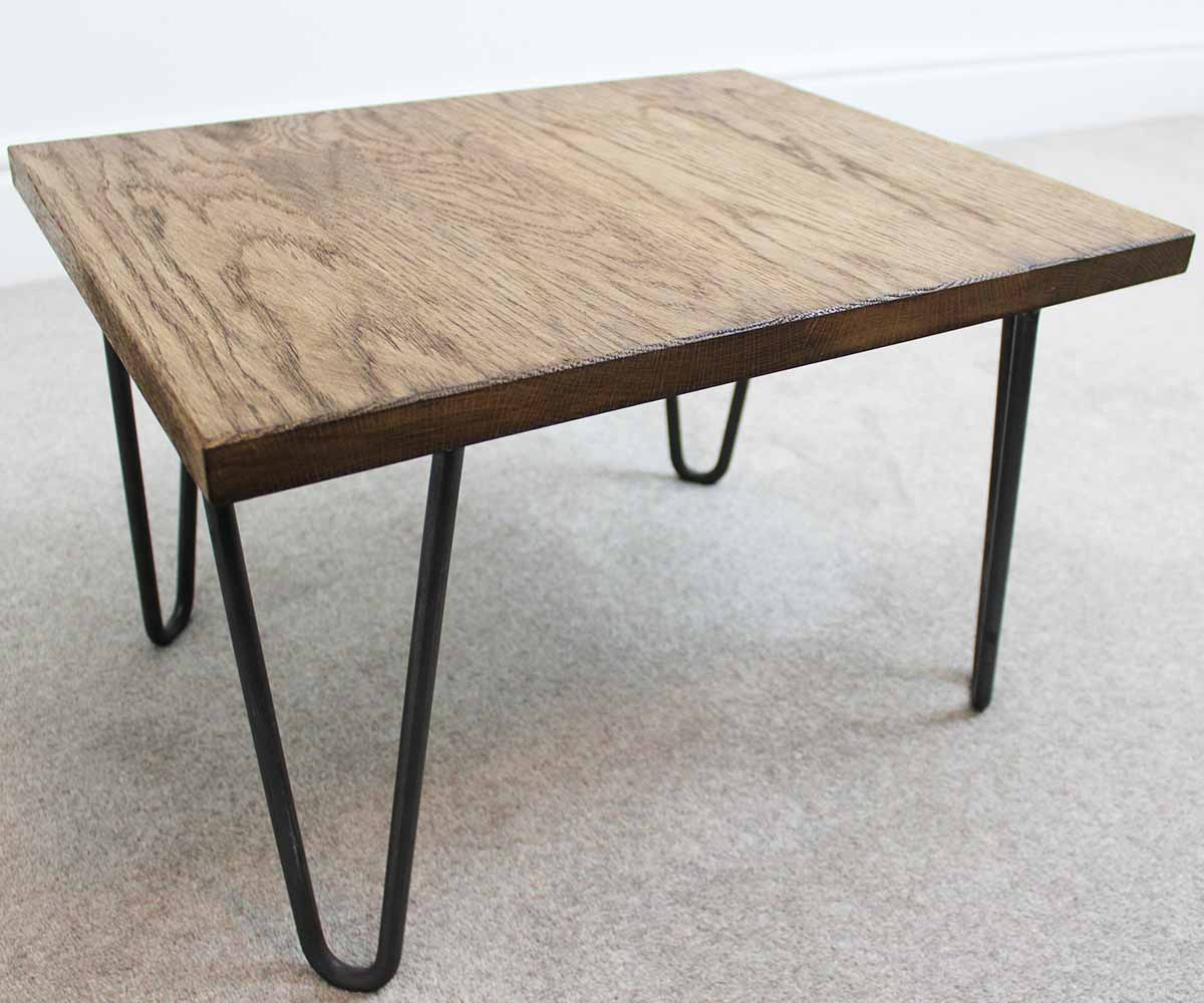 Trace hairpin industrial coffee table russell oak and for Coffee tables industrial