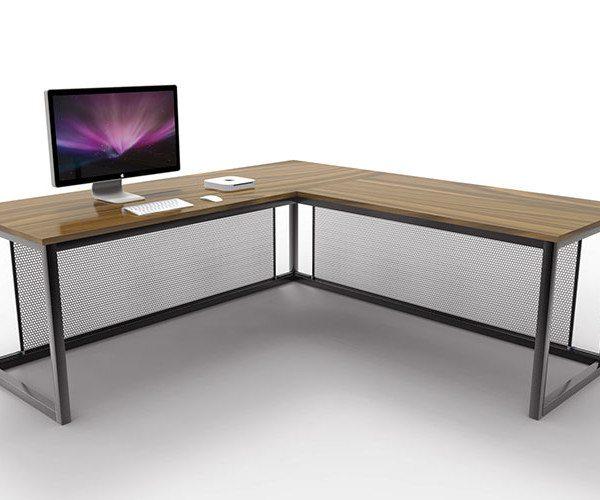 vintage industrial l shaped desk