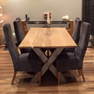 x frame industrial dining table