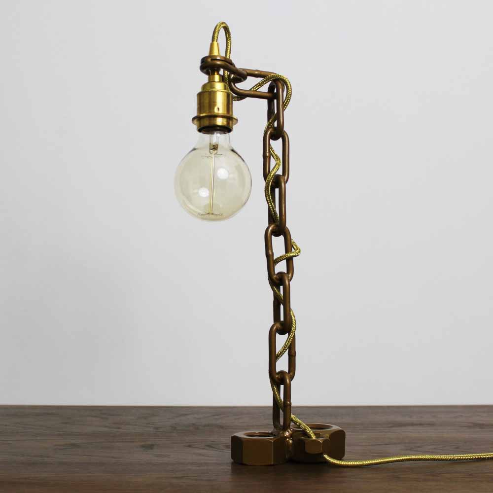 gold chain bolt lamp powder coated
