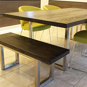 oak industrial dining table with benches