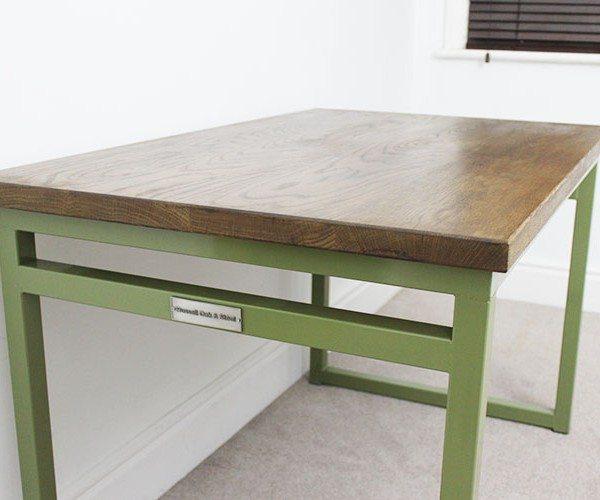 olive green industrial desk