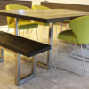 metal and oak dining table