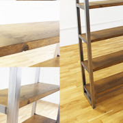 oak and steel industrial bookcase