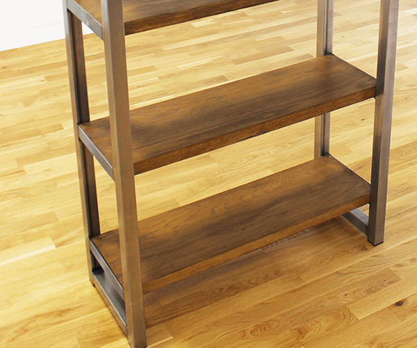 oak and steel industrial bookcases