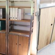 vintage metal industrial bookcase