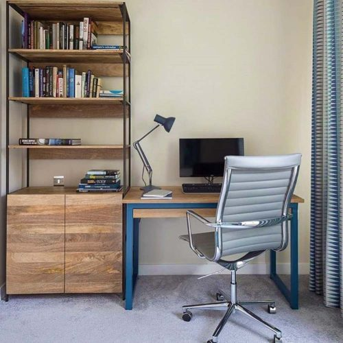 4ft industrial desk blue with long thin oak drawer