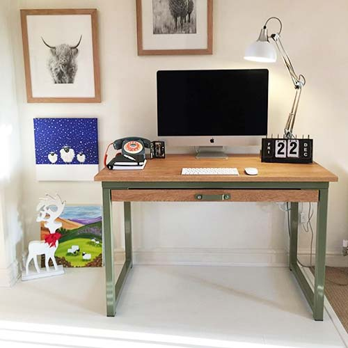 4ft medium oak industrial desk