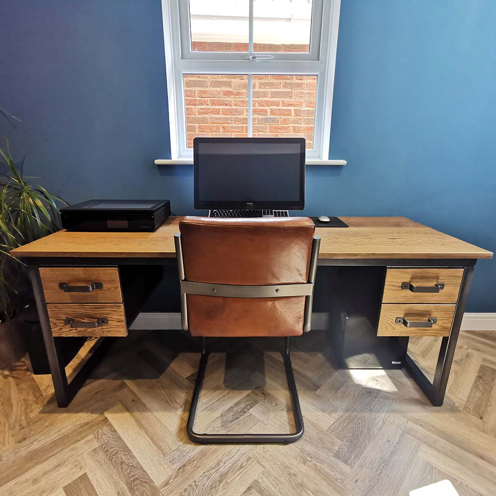 industrial desk with 2 double drawers