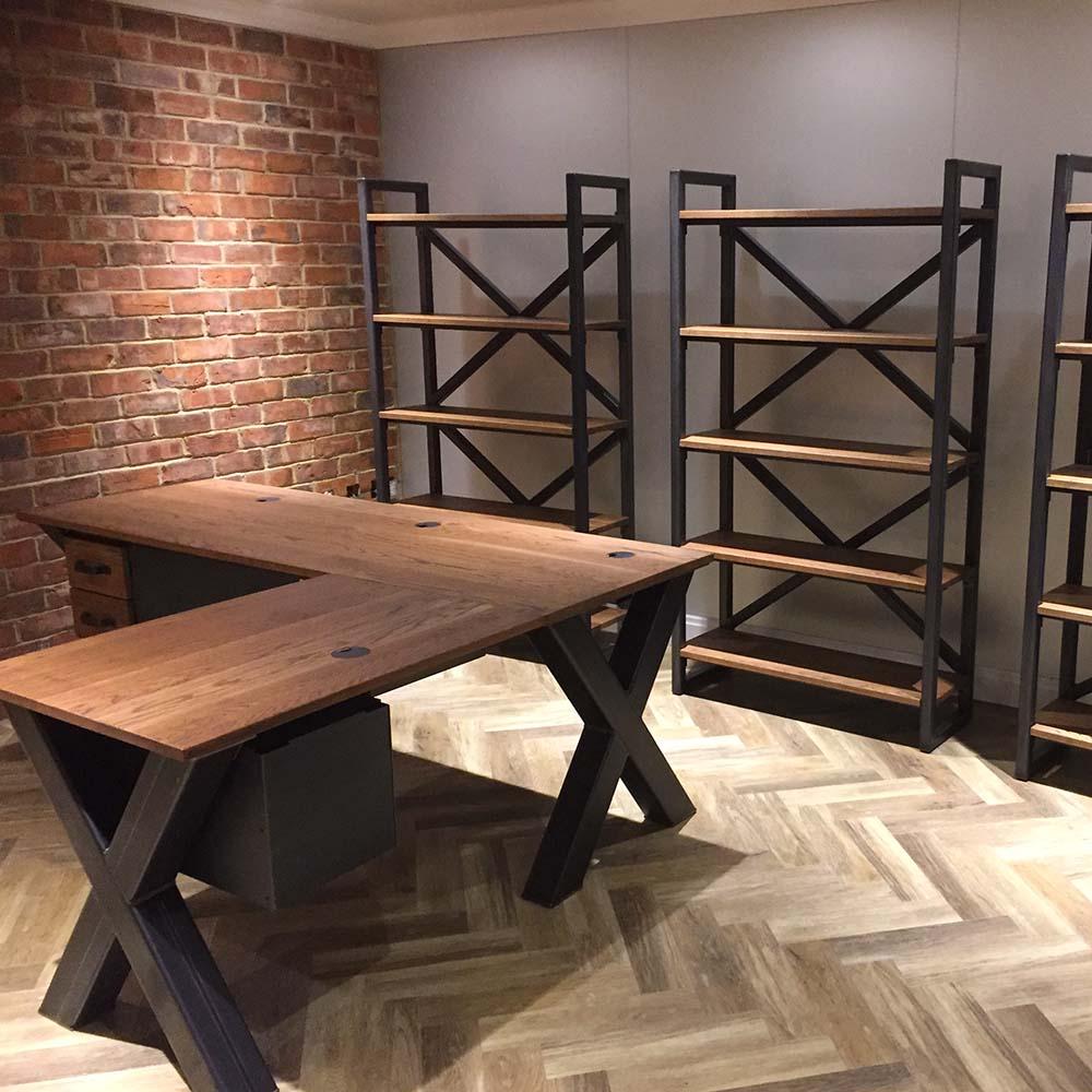 x frame corner desk and bookcases