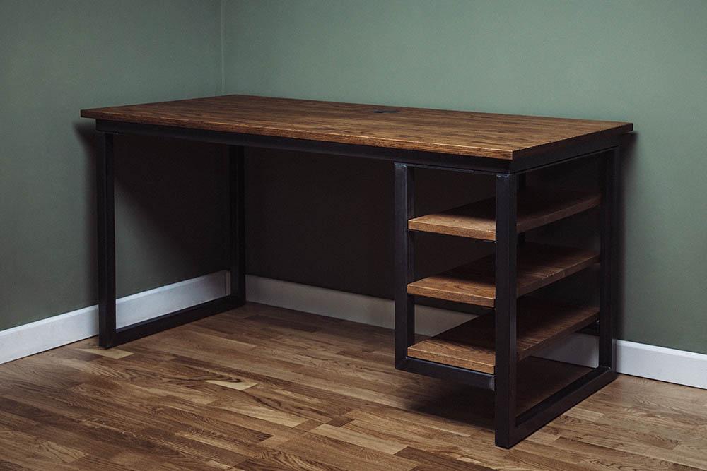 industrial desk with shelves