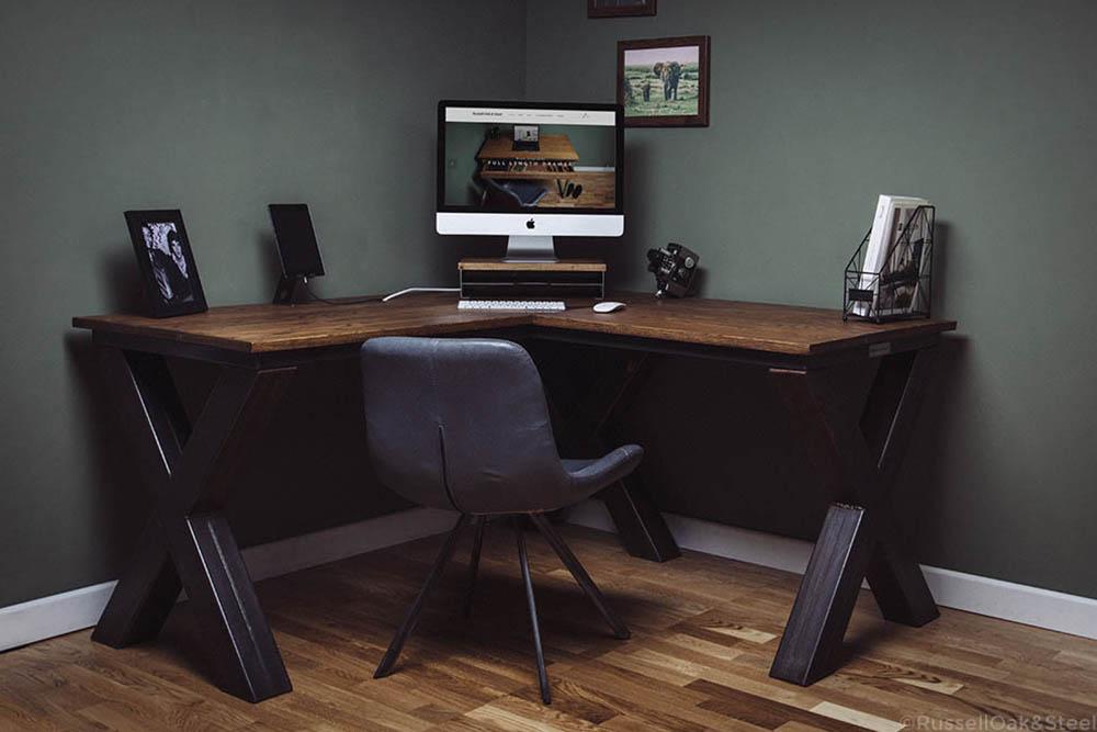 x frame corner industrial desk