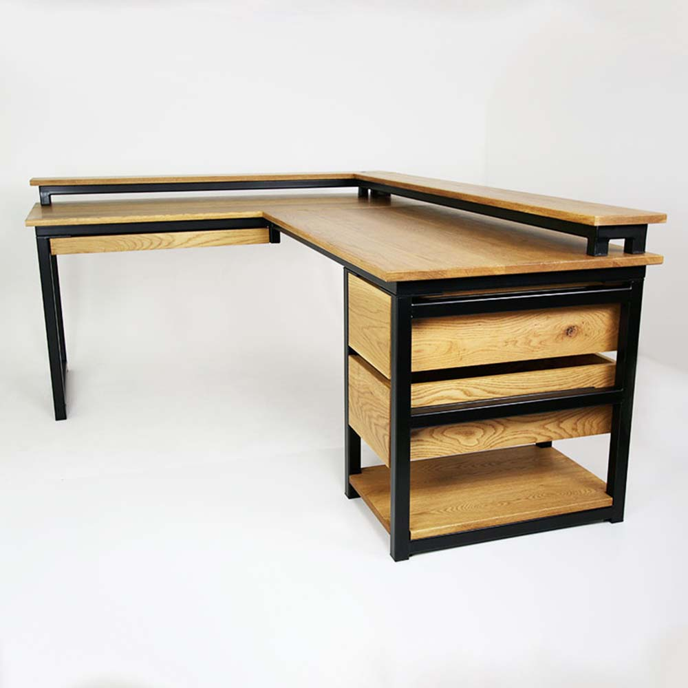 bespoke black steel oak industrial desk