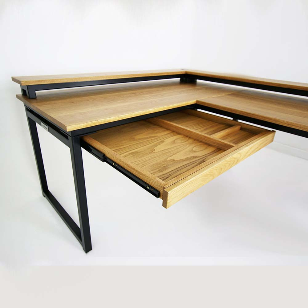 light oak industrial desk