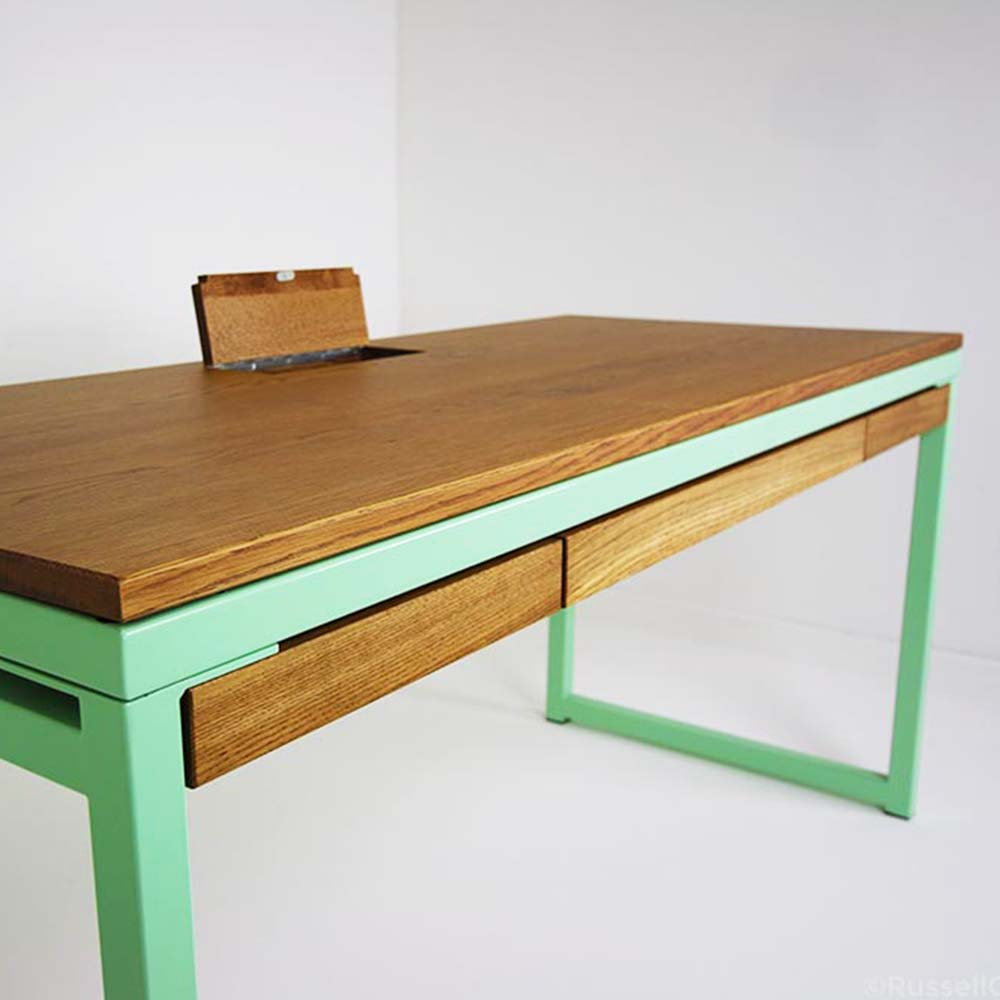 pastel green industrial desk