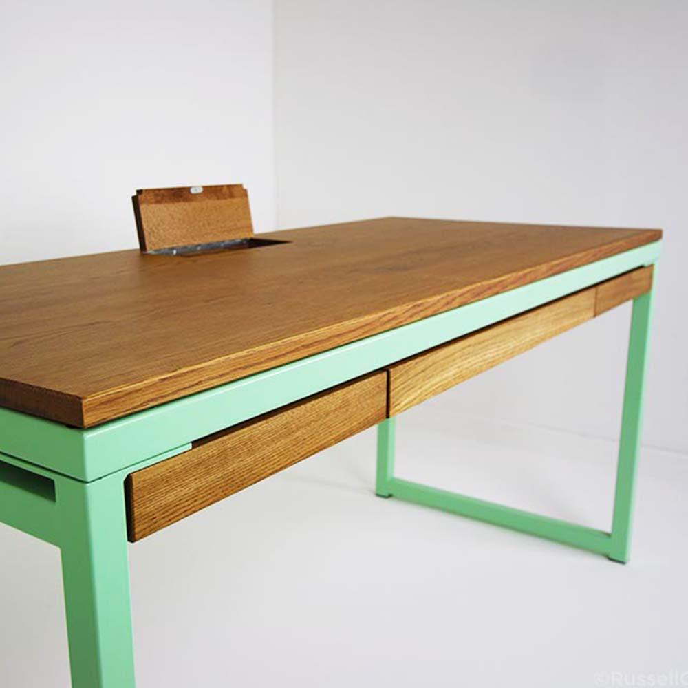 pastel green industrial desk