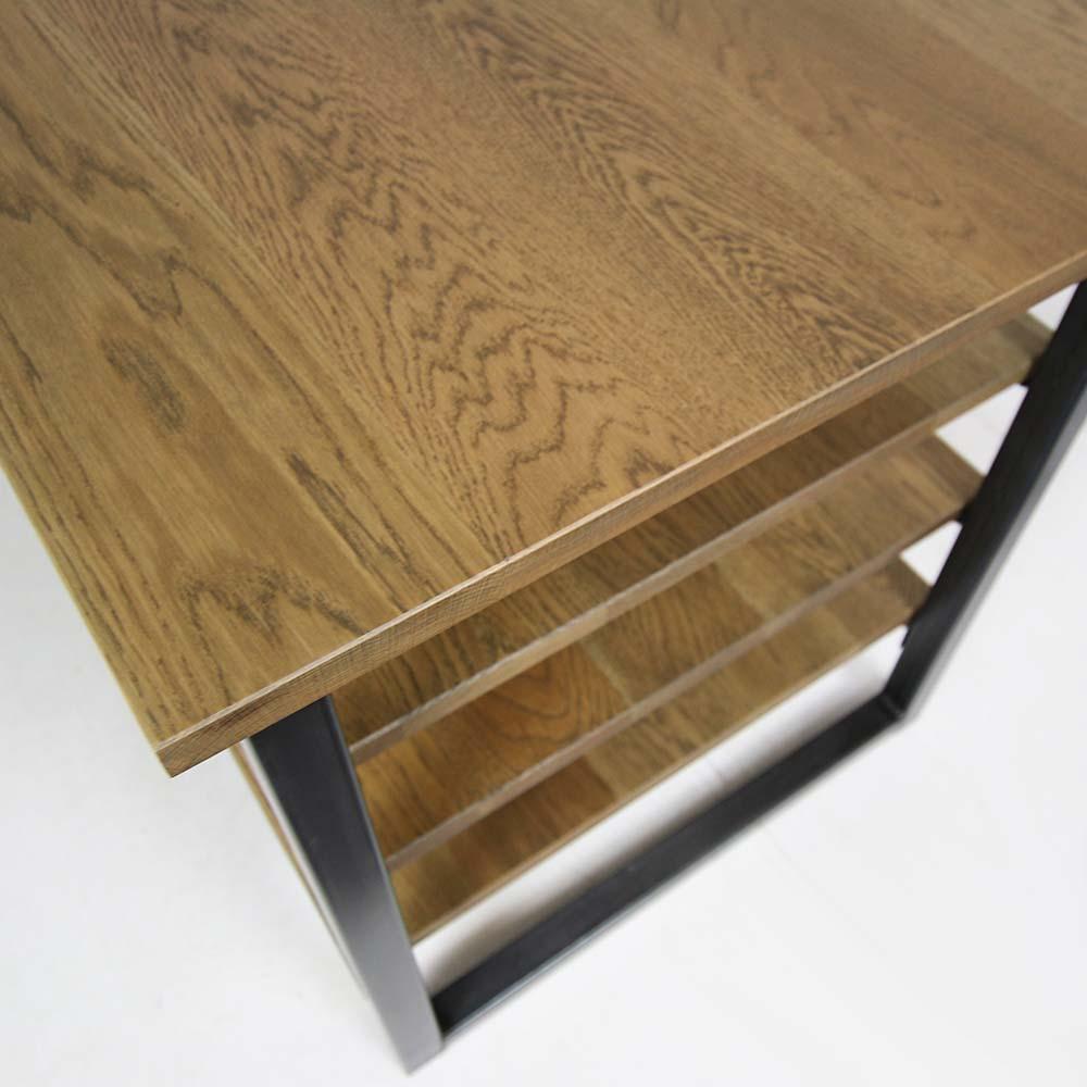 slate industrial corner desk oak