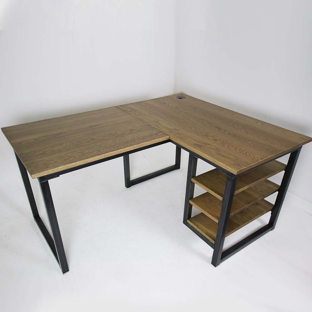slate industrial corner desk