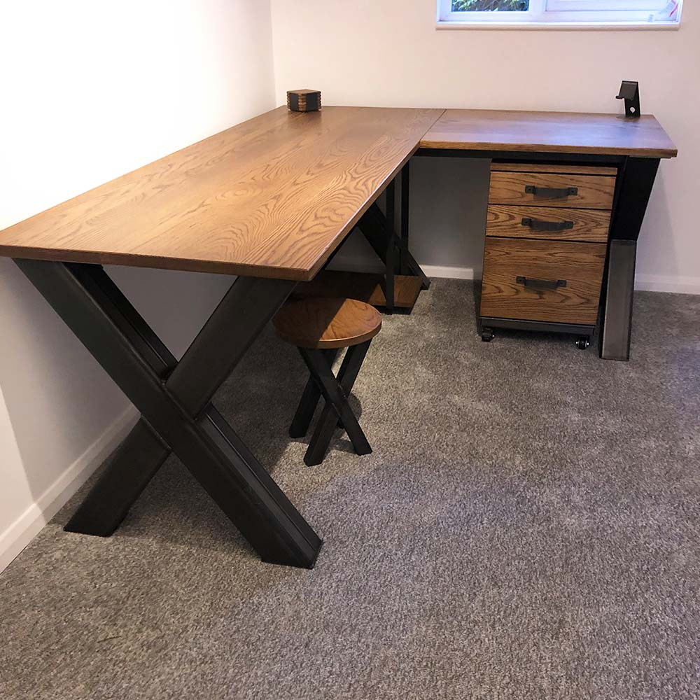 x frame corner desk with storage