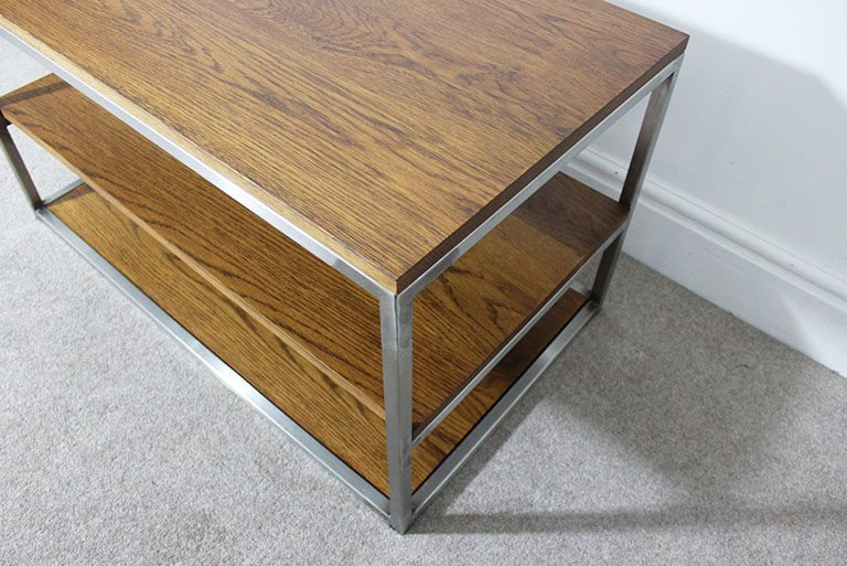 dark oak industrial tv table
