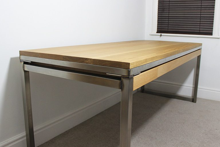 vintage industrial desk with drawers