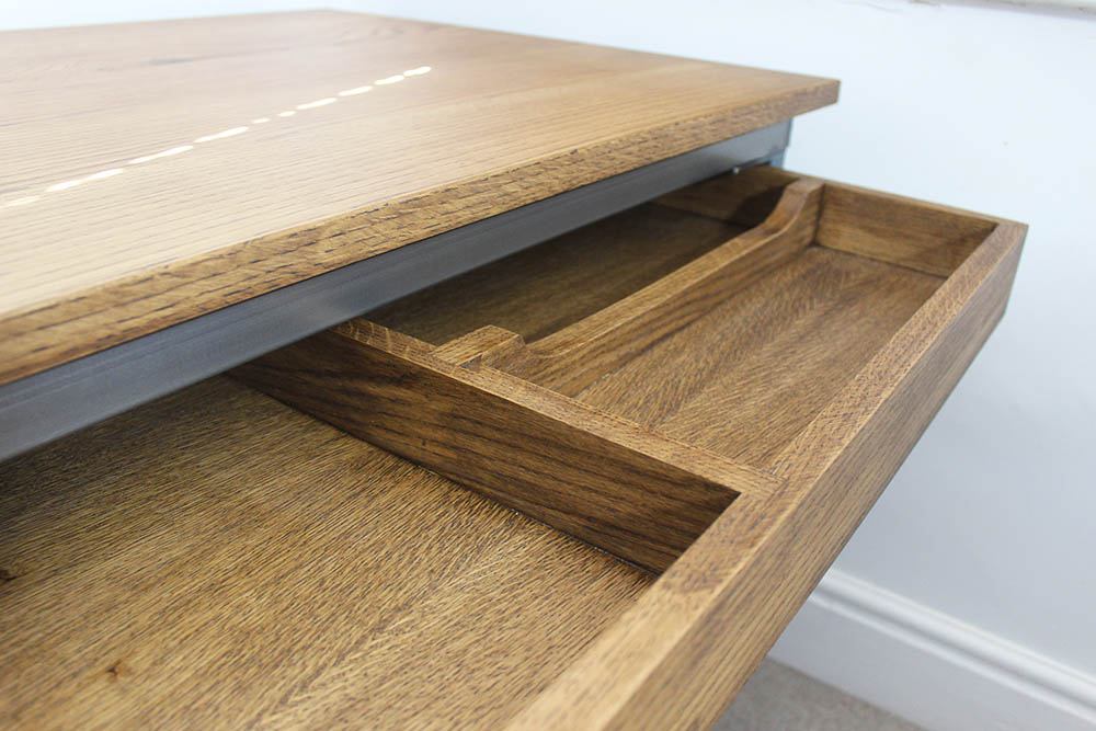 bespoke industrial office desk with drawers