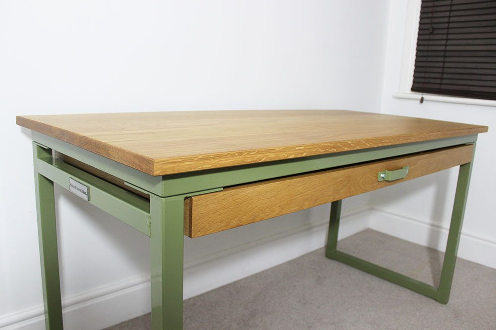 bespoke metal style desk with storage
