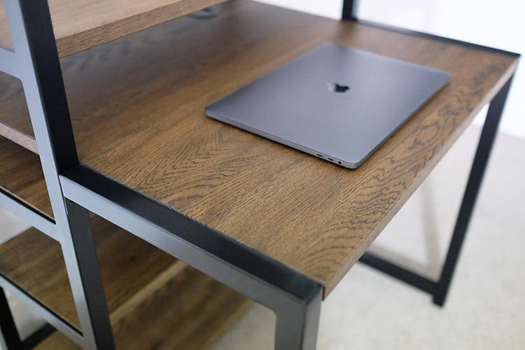 black industrial desks