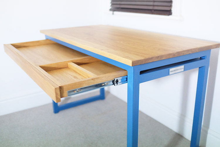 blue industrial desk