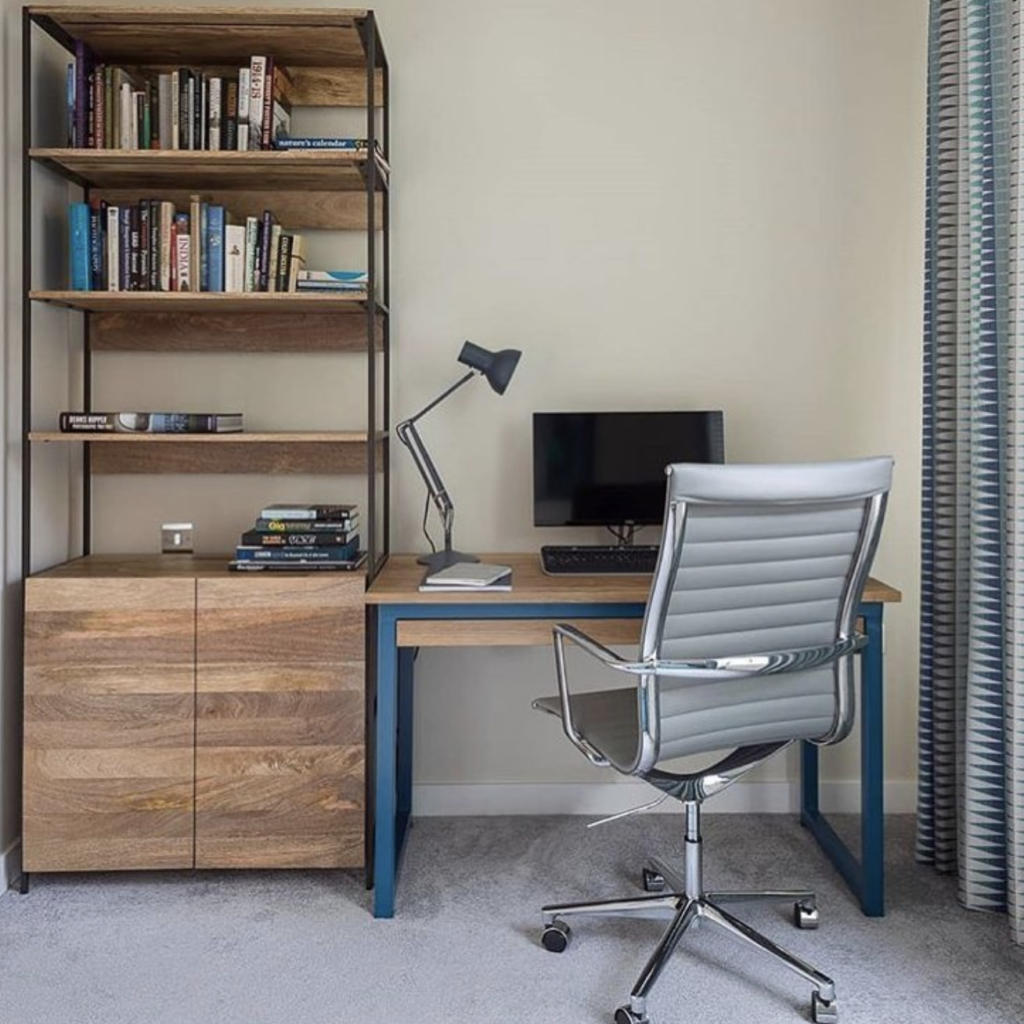 blue industrial desks