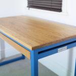 blue industrial desks