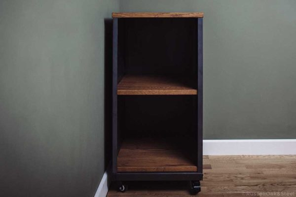carsington industrial oak 2 shelf storage unit