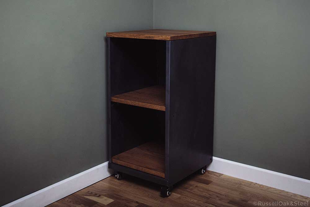 carsington oak metal 2 shelf storage unit