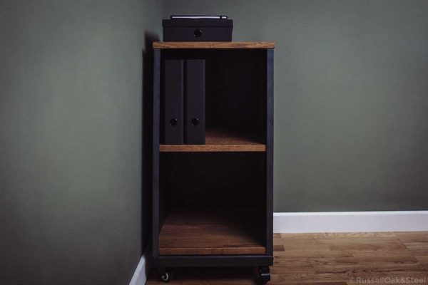 carsington vintage oak metal 2 shelf storage
