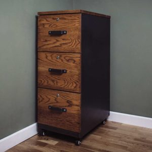 carsington vintage oak metal 3 drawers