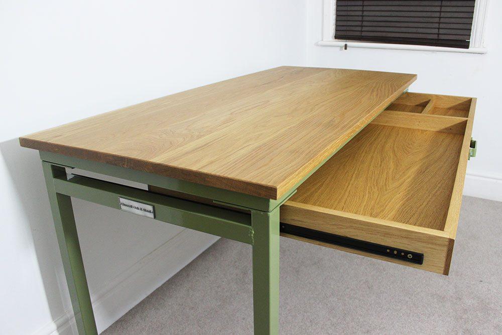 custom industrial desk with storage