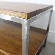 dark oak vintage industrial tv table