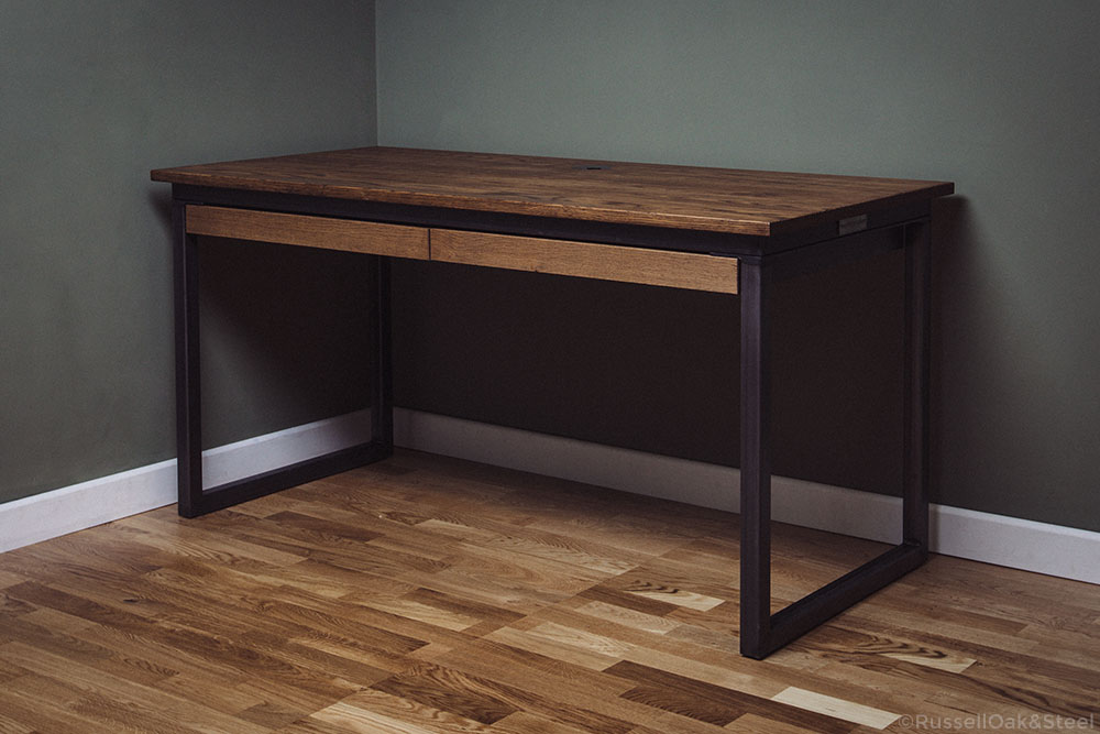 handmade industrial oak desks with drawers